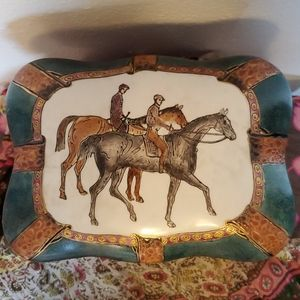 Vintage Porcelain Fox Hunt Derby Trinket Box